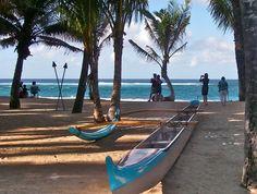 The canoe in front of Mama's Fish House Restaurant, Kuau Maui HI.
