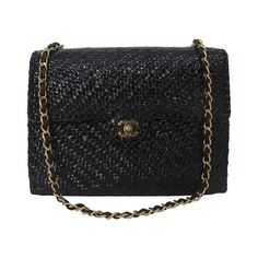dad58788d462 Black Chanel Wicker Shoulder Bag  2400