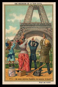 A Towering Eyeful: The Eiffel Tower in Paris celebrated its 125th anniversary in 2014. Built in 1889, the Eiffel Tower served as the entryway arch and, at over 1,000 feet tall, the centerpiece of the 1889 World's Fair. It remains to this day an immensely popular tourist attraction. #ephemera #history