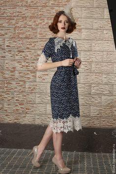 """Купить Платье """"Винтаж"""" - тёмно-синий, в горошек, нарядное платье, платье коктейльное, платье вечернее"""