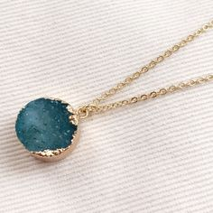 """Baublebar Druzy pendant necklace Beautiful turquoise Druzy pendant necklace. Is 30"""" long so works great alone or as a layering piece. Druzy pendant measures 0.5 inches. Also selling same necklace in smoky white color. Sorry  No trades but all reasonable offers are welcome :) Baublebar Jewelry Necklaces"""