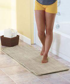 "Plush 58"" Foam Bath Runners  $17  Beige - upstairs  Aqua - downstairs"