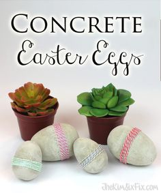 Concrete Eggs.. easy to make. Would look great in the garden!  Very industrial looking!