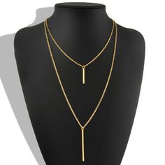 Double Layer Bohemian Gold Long Chain Vertical Drop Bar Pendant Necklace