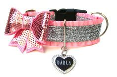 "1.5"" Ruffle Pink and Silver Glitter Dog Collar by Wagologie"