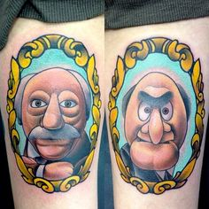 """""""dustyneal: Knocked out these Waldorf Statler pieces on the backs of thighs today."""" These are amazing. Movie Tattoos, Cartoon Tattoos, Cool Tattoos, Nerd Tattoos, Game Tattoos, Ink Tattoos, Tv Tattoo, Tattoo You, Sorry Mom Tattoo"""