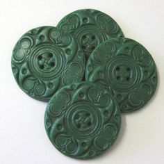 Green Faux Jade Sewing Buttons Large Handmade 4