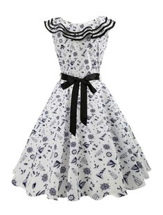 White Vintage Dress Polka Dot Print Queen Anne Neck Sleeveless Bows A Line Women Midi Dresses 1950s Party Dresses, Cheap Party Dresses, Cheap Dresses Online, Robes Vintage, Vintage 1950s Dresses, Vestidos Vintage, Rockabilly, Robes Pin Up, White Ball Gowns