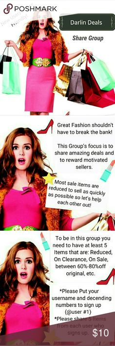 """Thursday 5/18 Share Group Sign up New User/Sharer Friendly Share Group! But Poshmark Complient Closets Only (We can help! Just ask :)  *Put your username and decending numbers to sign up (@user #1)  *Share 5 Items from each user who signs up. * Use the filter to select """"available items""""  then sort by """"Price Drop"""". If there are not 5 Items? that meet share Clearance, Sale or under 25$ items  * Sign Out with your number.  Sign up closes at 5pm PST and Sharing begins 5am -12am your time…"""