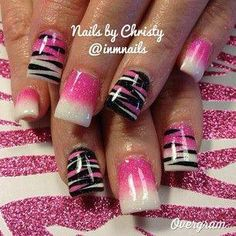 pink and white with black gel nail design, nails by Christy Hot Pink Nails, Sexy Nails, Fancy Nails, 3d Nails, Black Nails, White Nails, Pink Zebra Nails, Nail Bling, Sparkle Nails