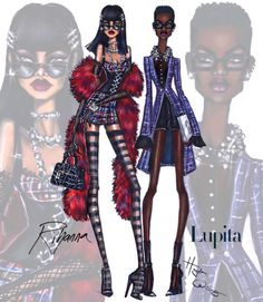 Time to scam in full glam! Came up with looks for this unconfirmed Rihanna X Lupita movie.