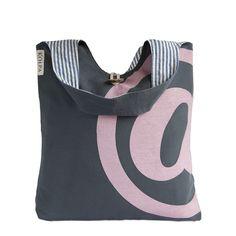 Pink @ on Grey - Handmade Shoulder Canvas Bag - Loop #attherate #atprint #canvassack #kolpa #kolpabag #canvasbag