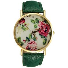 Amazon.com: Watch - Geneva Bracelet Watch Rose Flower Dial PU Leather... ($3.91) ❤ liked on Polyvore featuring jewelry, rose jewellery, blossom jewelry, rose jewelry, dark green jewelry and rose quartz jewelry