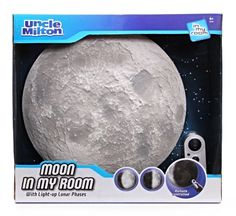 Uncle Milton's Moon in My Room features rows of lights that     glow softly behind the detailed lunar surface. The lights are     specially arranged to mimic the phases of the moon, going     from a new moon to full moon and all the phases in between.     Teach your child about the solar system while watching Moon     in My Room show off the moon's progression from dark to     light.
