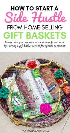 Do you want another source of income? Then learn how you can start a gift basket service from home. This side hustle is perfect for moms or anyone who would like to earn a few extra bucks during the holiday season. Make Money From Home, Make Money Online, How To Make Money, Extra Cash, Extra Money, Money Tips, Money Saving Tips, Earn Extra Income, Finance Blog