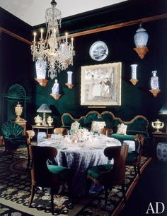 Remembering AD100 Designer Alberto Pinto.  A green velvet dining room by the designer..