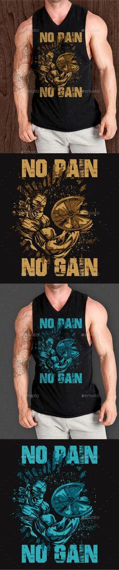 No Pain No Gain — Vector EPS #boxing #no pain no gain t-shirt • Available here → https://graphicriver.net/item/no-pain-no-gain/19696165?ref=pxcr