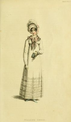 Regency Era Fashion Plate - August 1817 Ackerman's Repository London Fashions Walking Dress A jaconot muslin round dress; Regency Dress, Regency Era, French Fashion, Vintage Fashion, Empire Silhouette, Historical Costume, Historical Dress, Children's Book Illustration, Book Illustrations