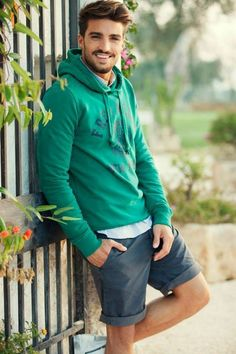 Green Print Hoodie styled with Blue Shirt and Teal Short http://www.thestyle.city/mens-fashion/13-hoodie-styles-for-the-hunks/
