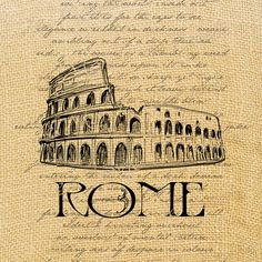 Rome    coliseum romantic large image italy handwriting europe transfer gift tag label napkins pillow original large image Sheet n.149