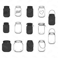Professional Chalkboard Mason Jar Clip Art / Jar by AmandaIlkov Mason Jars With Handles, Blue Mason Jars, Mason Jar Tattoo, Wedding Chalk Art, Mason Jar Clip Art, Mason Jar Image, Chalkboard Mason Jars, Wedding Jars, Jar Design