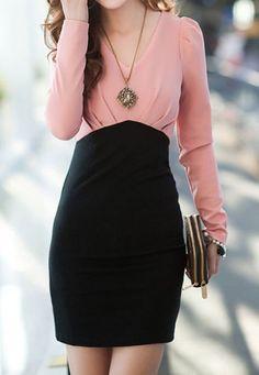 Pink Black Puff Long Sleeve Short Dress  $25.00