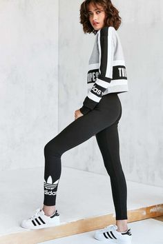 Sporty leggings that are super opaque. Shop adidas Originals Trefoil Legging  at Urban Outfitters ... 256049ab445