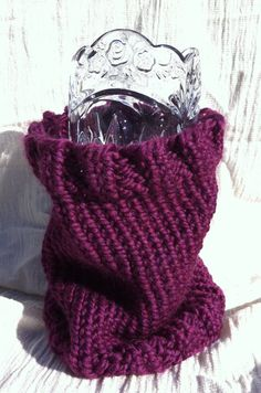 Chunky Hand Knitted Cranberry Burgundy Cowl Soft by WittyNitty on etsy!