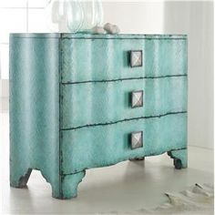 Make a modern statement in your home with this turquoise crackle chest of drawers. Inside drawers features a unique wallpapered interior. Constructed of hardwood solids. Unique Furniture, Painted Furniture, Diy Furniture, Furniture Refinishing, Bedroom Furniture, Luxury Furniture, Blue Furniture, Furniture Projects, Furniture Makeover