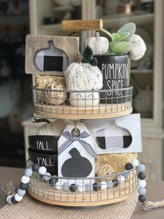 Pumpkin Signs / Fall Decor / Fall Signs / Tiered Tray Decor /   Etsy