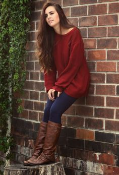 Stunning Leather Long Boots and Red Sweater