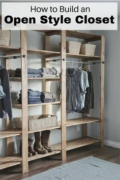 Do you have limited floor space but need more storage? This gorgeous DIY open closet is perfect for you. It mainly uses wood and metal, durable materials that will give you your money's worth. You can even adjust the shelving height of this industrial-style cabinet. Check out the tutorial from Ana-white.com below. How to Build an Open Style Closet