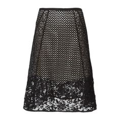 SEE BY CHLOE' Panelled Broderie Anglaise Skirt ($186) ❤ liked on Polyvore featuring skirts, black, knee length skirts, high-waist skirt, floral skirt, lace skirts and floral lace skirt