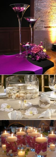 Candles Centerpieces and Floating Flowers