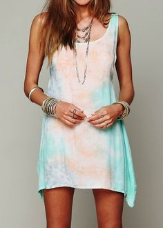 Boho summer: tie dyed asymmetrical dress, lots of bangles and rings <3 Via Refined Style