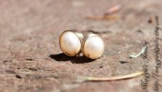 Large Pearl Post Earrings Large White Pearl by maggiesjewelry,