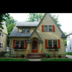 No no for me... shutters too orange. Exterior? Homes with red shutters. Needs to be darker red - maroon, maybe....