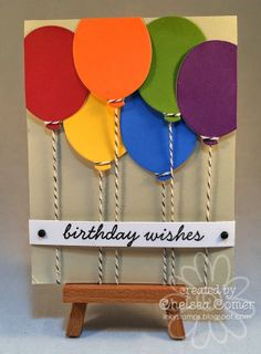 Creative use of the single balloon die by Creative Consultant - Chelsea Comer. Happy Birthday Cards Handmade, Birthday Cards For Boys, Paper Cards, Diy Cards, Tarjetas Diy, Birthday Card Drawing, Studio Cards, Karten Diy, Card Envelopes