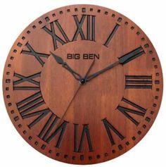 """Westclox Big Ben 12"""" Solid Wood Brown Wall Clock Quartz Analog Roman Numerals"""