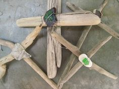 Driftwood Beach Glass Crosses from the Shores by daisymadedesigns
