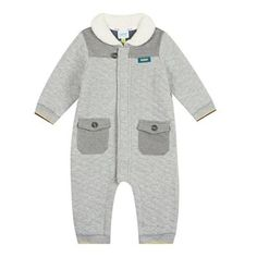 dc4c0d43f5c6 Baker by Ted Baker Babies grey quilted all-in-one suit