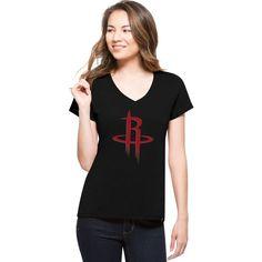 '47 Women's Houston Rockets Splitter Logo Black V-Neck T-Shirt, Size: Large, Team
