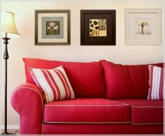 Red Sofa w/ contrast welt