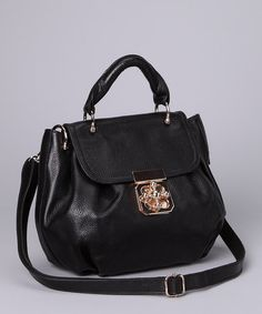 Take a look at this Black Crisscross Lock Satchel by Adhesion, LLC on #zulily today!