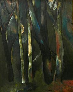 Fred Williams, Australia (1927-1982) • Sherbrooke Forest 1958 • Oil on composition board • Elizabeth Summons Bequest • 2003.065 #AustralianPainting #OilPainting #FredWilliams Fred Williams, Australian Painting, Asian Art, Printmaking, Metal Working, Contemporary Art, Composition, Oil, Gallery
