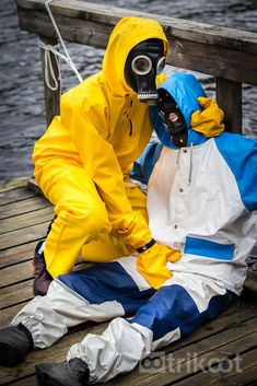 Fun in rain gear on an August evening in Tampere, Finland.