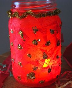 red and gold jar lantern