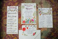 illustrated wedding invitations, photo by Love Katie and Sarah http://ruffledblog.com/a-brooklyn-wedding-for-two-actors #weddinginvitations #stationery