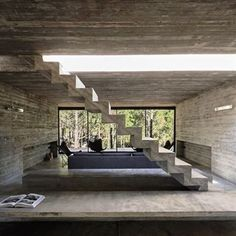 This modern concrete residence located in Pinamar, Argentina, was developed in 2015 by Luciano Kruk Arquitectos. Description by Luciano Kruk Arquitectos Costa Concrete Architecture, House Architecture, Contemporary Architecture, Architecture Details, Futuristic Architecture, Concrete Interiors, Beachfront House, Walter Gropius, Concrete Houses