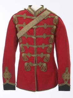 1878 Canadian North-West Mounted Police Officers Full Dress Tunic and Accoutrements.  Original pattern for an Inspector, and is based on the British 13th Hussar's uniform.  It was owned by Inspector W.D Anrobus.  Glenbow Museum / taf